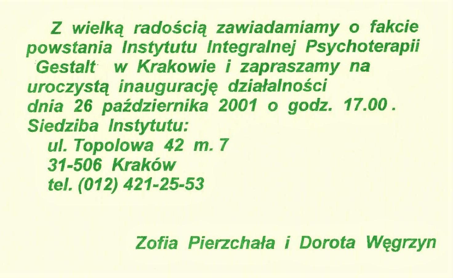Otwarcie Instytutu Integralnej Psychoterapii Gestalt