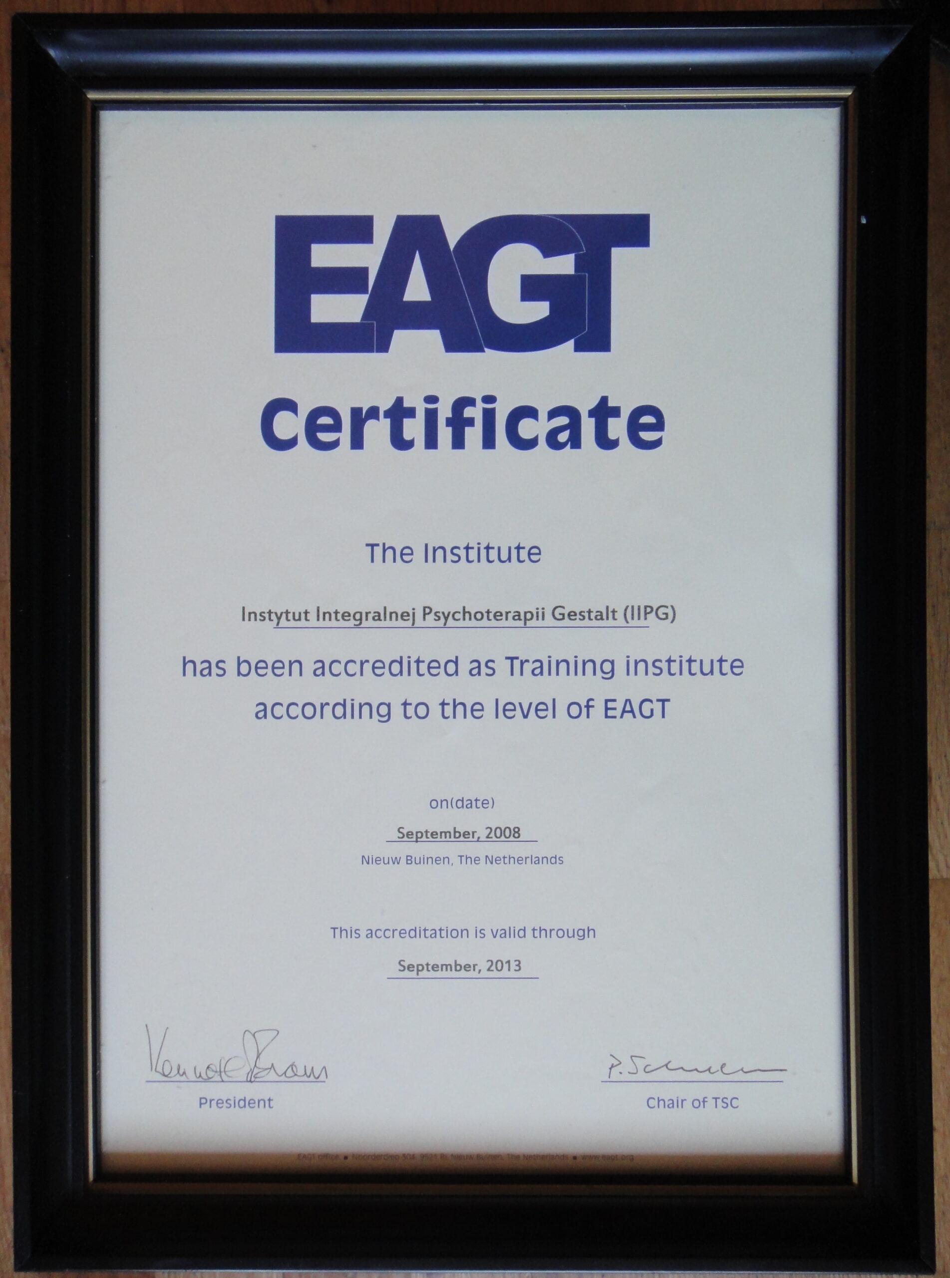 1. akredytacja IIPG w EAGT